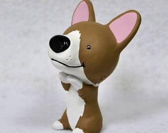 Hand Sculpted Pembroke Welsh Corgi Derp Figurine
