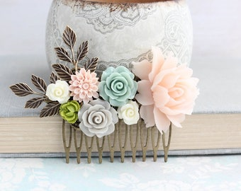 Blush Rose Hair Comb Fresh Green Light Grey Hair Accessories Wedding Flower Comb Bridal Hair Comb Aqua Mint Floral Collage Rustic Branches