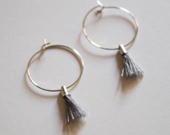 the Laurel -earrings in Grey (small halo hoop earrings with tassel minimal every day )