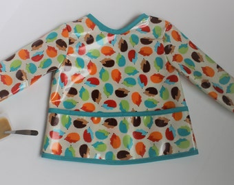 READY TO SHIP 2/3 Long Sleeve Toddler Bib Baby Bib with Hedgehogs