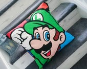 Mario Luigi Nintendo character print cushion cover pillow cotton video game gamer geek gift