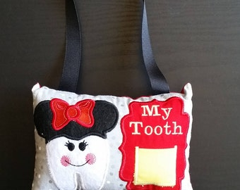 Tooth Fairy Pillow - Girl Mouse - Girl Gift - Tooth Pocket Pillow