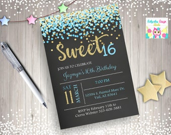 Sweet 16 Invitation sweet 16 birthday invitation sweet sixteen birthday party confetti blue aqua gold digital DIY printable