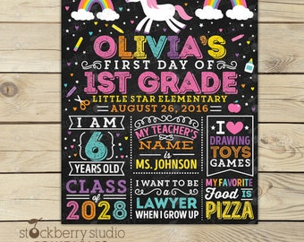 Unicorn First Day of School Sign - 1st Day of School Chalkboard Sign - Back to School Sign Printable - Girl First Day of School Chalkboard