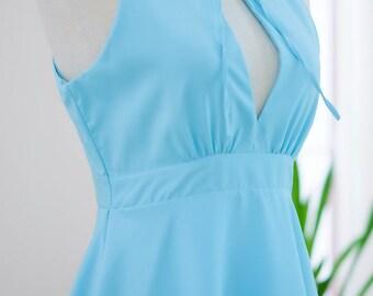 Marry Blue dress Women dress Blue party dress ruffle prom dress blue cocktail dress Cottage bow dress Blue bridesmaid dresses Tea dress