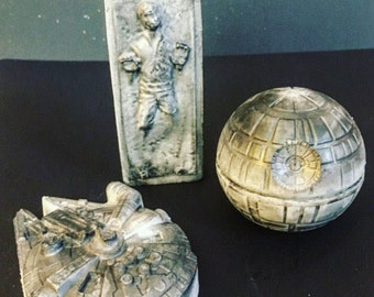 Star Wars gift set - Valentine's day for him - The last jedi - death star Millennium Falcon Han Solo in Carbonite soap - May the Force be