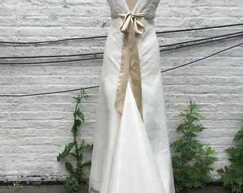 Classic V-neck Silk A-line Wedding Gown
