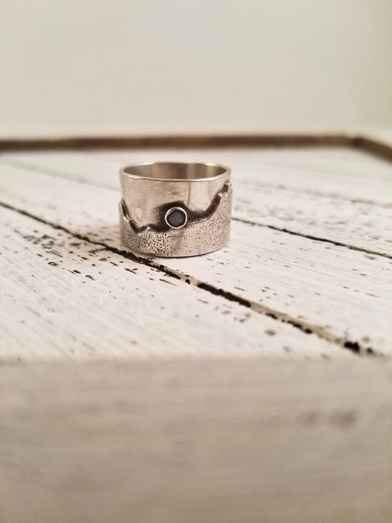 Sterling Mountain and Opal Reborn Ring, Handmade Mountain Band, size 6.75