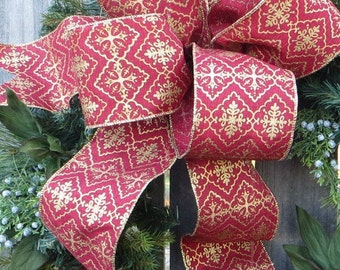 Bow for Christmas Wreath, Gold and Brick Red Bow, Large Bow for Christmas Wreath