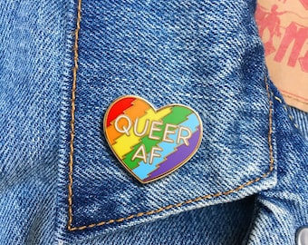 Queer AF pin, Soft Enamel Pin, Jewelry, Art, Artist, Gift (PIN94)