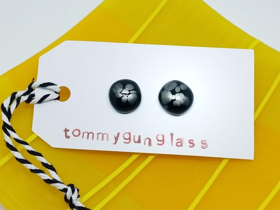 Black and Silver Glass Stud Earrings