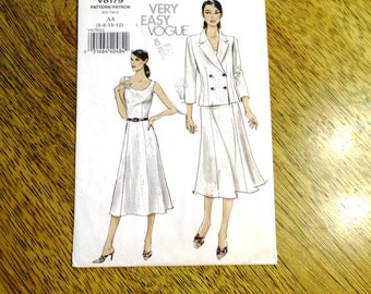 Very EASY Princess Seamed Dress w/ PREPPY Double-Breasted Cardigan Jacket - Size (6 - 8 - 10 - 12) - UNCUT ff Sewing Pattern Vogue 8179