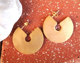 Gold Plated Disc Earrings,Geometric Earrings, Brass Earrings,Modern Earrings,Disk Earrings,Hoop Earrings,Gift For Her,Fall's trend