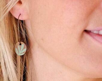 Wooden Sprig Leaf Round Long Hoop Earrings - Mint Green on Walnut