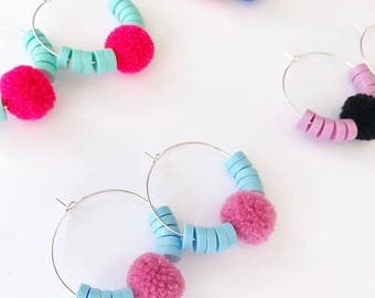 Happy Hoops - Choose Your Own Colour Combo - Laser Cut Pom Pom and Acrylic Bead Hoop Earring - Each To Own Original