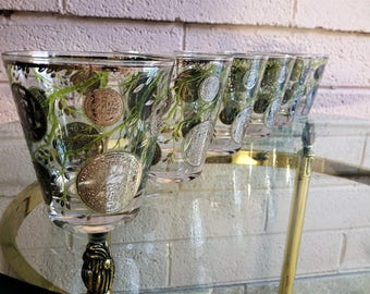 Culver Barware Glasses Liberty Coin Silver and Green Set of 6 Double Old Fashioned Funnel Shape 1960's