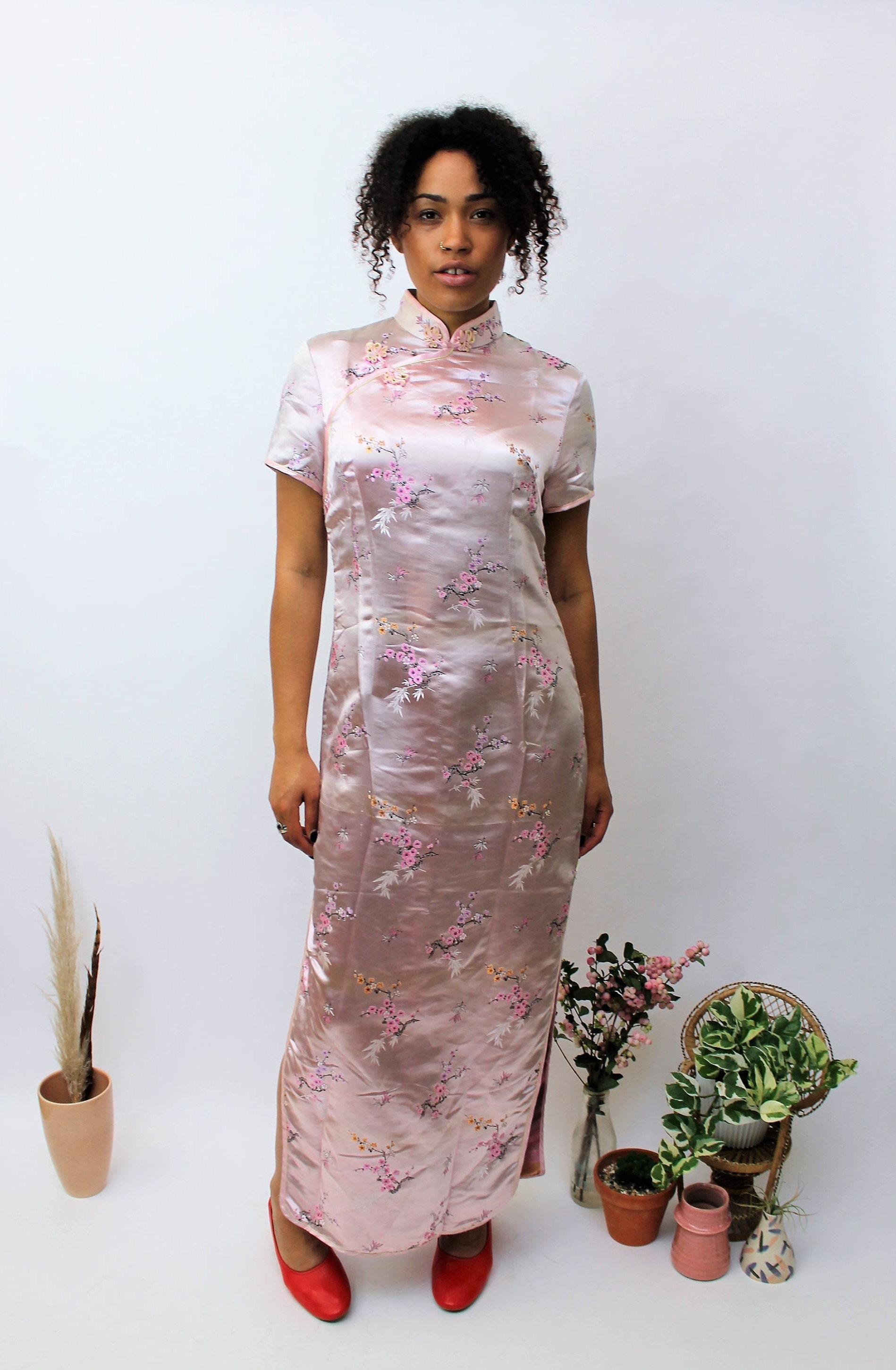 Chinese Baby Pink Cheongsam Dress Size UK 12 US 8 EU 40