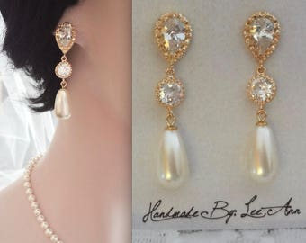 Gold pearl earrings, Long gold pearl drop earrings, Cubic zirconia's,14k gold over settling posts,Brides earrings,Gold pearl wedding earring