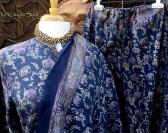 Vintage India 3-pc Set, Kurta Set, India Kameez/ Pant/Shawl Set, Bohemian, Ethnic, Hippie