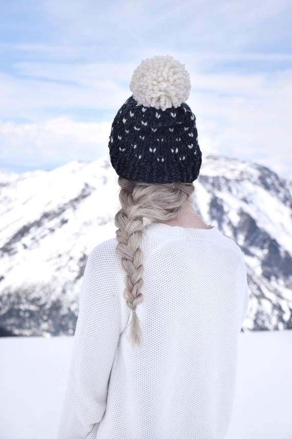 Knit Slouchy Hat Womens Beanie Fair Isle Pom / Black White Hat