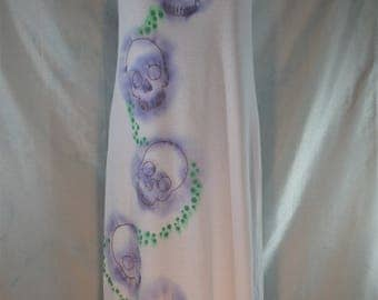 Skull Dress. Long white small cotton dress, purple/gold skulls and glittery green beach festival summer camping