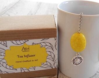 Tea Infuser, Sun Charm, Sol, Yellow Magnesite, Energy, Life Force, Gift for Him, Tea Gift, Tea Diffuser, Sunshine, Under 10 Dollars, Healthy