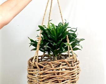 Vintage Willow Hanging Basket Willow Twig Woven Basket Planter Indoor Outdoor Balcony Porch Garden Decor