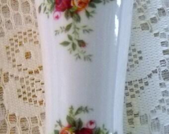 Vintage Royal Albert Vase, Old Country Roses Vase, Small China Vase, Red an Yellow Roses, Vintage Bone China Bud Vase