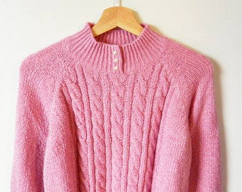 Raspberry Vintage Chenille Sweater / Rad Butter Soft Pullover Sweater / Cable Knit Slouchy Sweater / 80s Mauve Raspberry Sweater