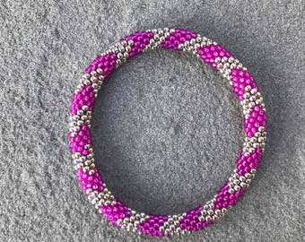 Silver plated and Permanent Finished Pink Seed Beads Crocheted Bracelet, Handmade in Nepal, Rope Style, Roll_in
