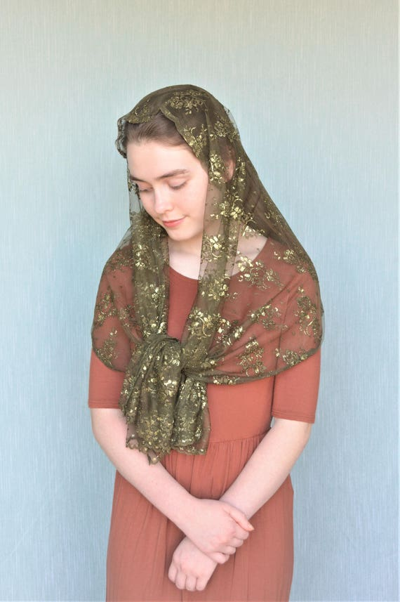 Green Shimmer Chapel Scarf | Green Catholic Chapel Veil Catholic Mantilla Catholic Veil Church Veil Mass Veil Veil for Mass Robin Nest Lane