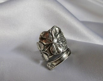 Lucky Clover Spoon Ring Sterling Silver Art Nouveau Circa 1900 Irish Shamrock Unique Gift