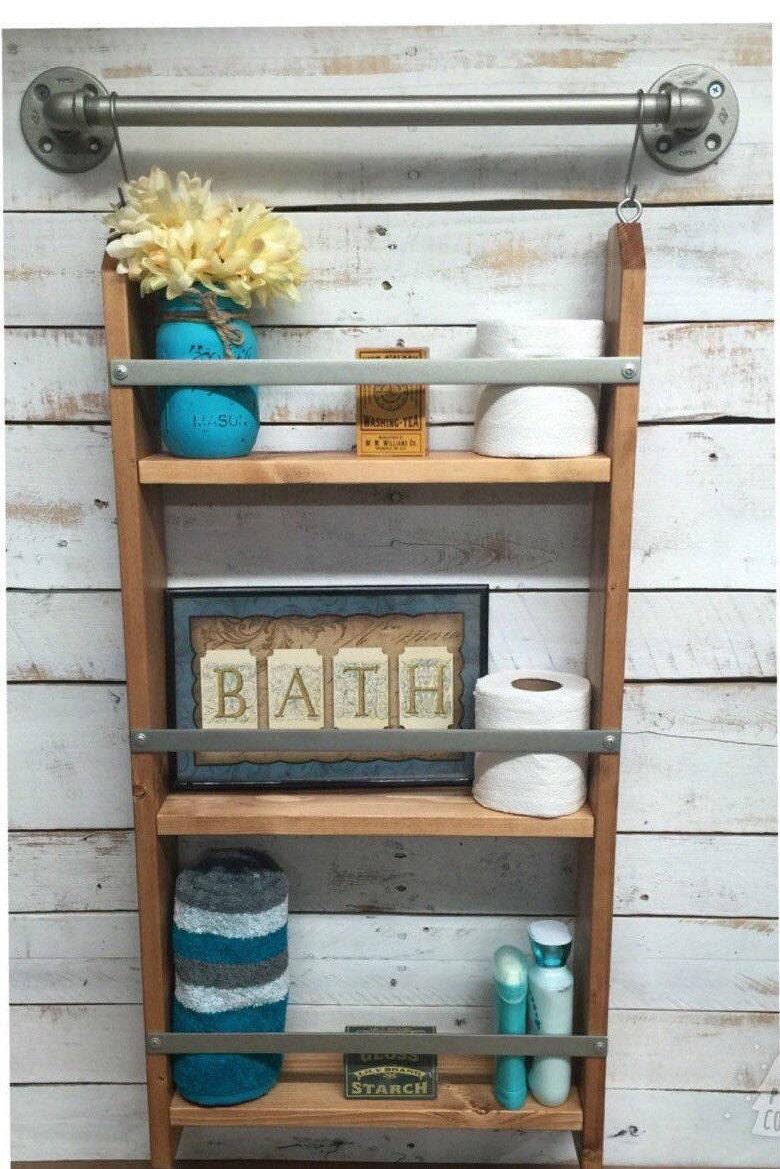 ladder shelf rustic bathroom shelf ladder storage ladder. Black Bedroom Furniture Sets. Home Design Ideas