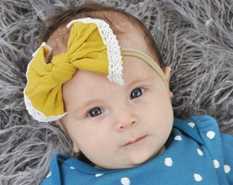 Mustard Nylon and Lace bow, headband set 1 size fits all, comfy baby newborn girls hair, Fall. Autumn