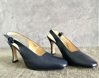 Vtg 90's Womens 10M Blue Leather Slingback Pumps Square Toe Heels