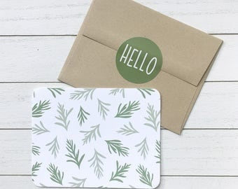 Botanical Note Card Set of 4 // Blank Note Cards with Envelopes and Stickers // Modern Note Cards For Any Occasion