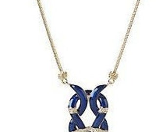Jackie Kennedy GP Necklace - Blue Enameling, Crystals, Box and Certificate