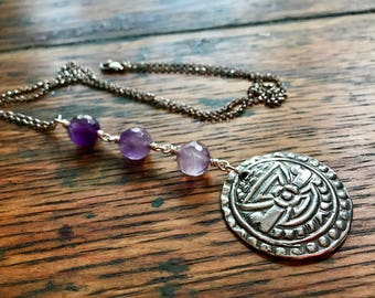 Long Sterling Silver Chain Necklace with Amethyst Beads and Reversible Tribal Inspired Sterling Silver Pendant