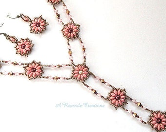Beaded Jewelry Set Seed Bead Jewelry Beadweave Jewelry Set Victorian Renaissance Era Women's Gift for Her Fashion Jewelry