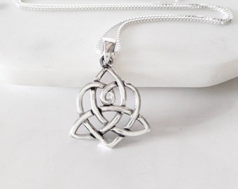 Celtic Heart Necklace Sterling Silver Heart Triquetra Pendant Trinity Knot Heart Celtic Pendant Sisters Knot Jewelry Large Solid Pendant