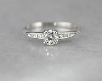 Vintage Diamond Platinum Engagement Ring 24YKW1-D