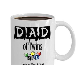 Twins Mug, Dad of Twins Coffee or Tea Mug, new Dad gift, gift for him, gifts for dad, coffee mug, twins gift, shower gift, baby (JGSM153)