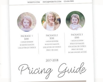 Photography Price List Template, Pricing Template, Pricing List for Photographers, Photography Templates, Photography Pricing Sheet, pg004