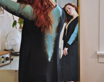 Luxurious Bamboo Robe, Long Black Robe, Galaxy Print Robe, Waterfall Opening