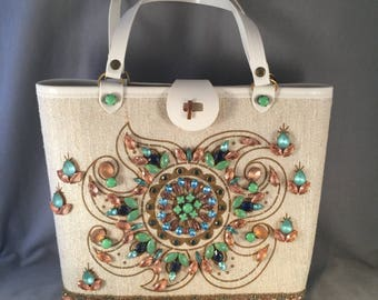 1960s Jeweled Kit Purse, Enid Collins Style, Major Bling with Large, Rare Prong Set  Glass Stones, Peach and Mint Green, Excellent