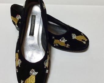 Vintage Beverly Feldman Ballet Flat / SZ 7.5 / Frankie and Baby / Velvet Flats / Retro / Hipster / Sequin Flats