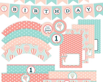 Hot Air Balloon Party Decorations | Pink | Party Decorations | Printable | BR009M