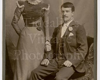 Cabinet Card Photo Victorian Young Smart Couple Lace Choker Husband and Wife (?) Portrait by Scott of Stratford England - Antique Photograph