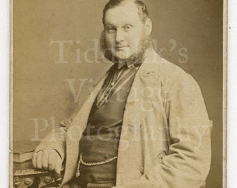 CDV Photo Victorian Large Smiling Man, Mutton Chops Beard Portrait by London Stereoscopic Co. England - Carte de Visite Antique Photograph