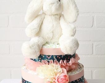 Bunny Floral Diaper Cake